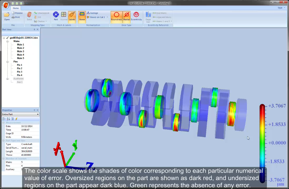 3D Analysis may be used with Adcole Crankshaft or Camshaft Gages